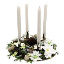Kerstster in een bos witte Ø18cm L30cm