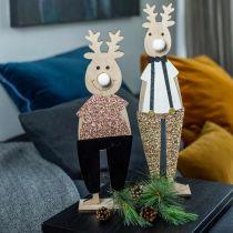 Rendier houten deco figuur display Kerst 12 × 6.5cm H45cm 2st
