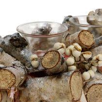 Kaars arrangement met natuurlijke berkentakken, mica 48cm
