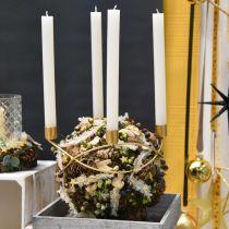 Kandelaar goud Adventskrans metaal Voor kegelkaarsen Ø24cm