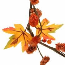 Herfstslinger met esdoornbladeren en oranje kegels 1.28m