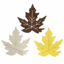 Verspreide esdoornbladeren geel, bruin, platina Assorti 4cm 72st