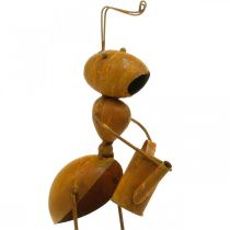 Decoratieve plug mier, beddecoratie, mier met gieter, bloemplug patina