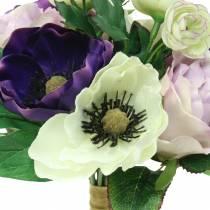 Boeket met anemonen en rozen violet, creme 30cm