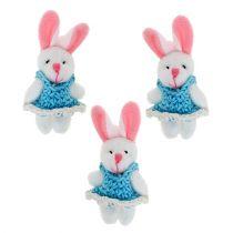 Hangend konijntje 5,5 cm blauw 9st