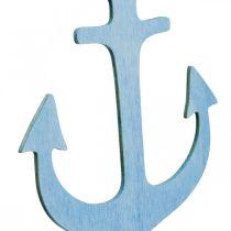 Ankerhanger hout blauw, wit zomerdecoratie om op te hangen 8st