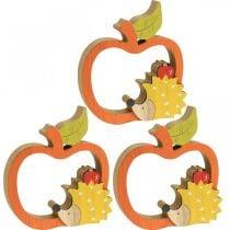 Decoratief figuur herfst, appel met egel, houtdecoratie 16.5 × 15cm 3st