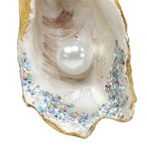 Hangende oester met parel en mica 8,5 cm