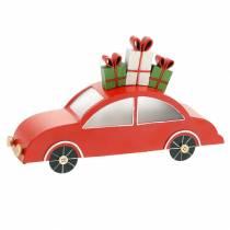 Kerstauto met LED rood metaal 25cm H14,5cm voor accu.
