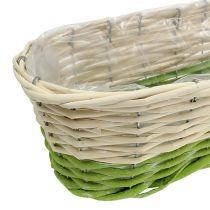 Balkondoos ovaal 48x18cm H14cm creme, groen