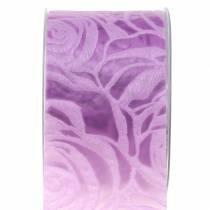 Decoratief lint rozen breed paars 63mm 20m