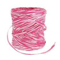 Bast als cadeaulint roze-wit 200m