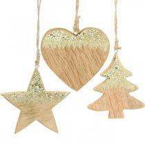 Kerstdecoratie ster / hart / boom, houten hanger, adventsdecoratie H10 / 12.5cm 3st