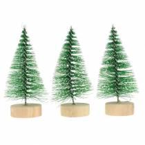 Decoratieve kerstboom groen sneeuwde 10cm 6st