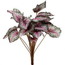 Kunstmatige begonia bush groen, violet 34cm