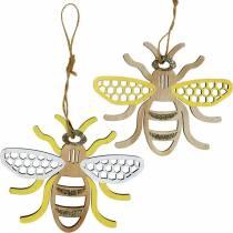 Decoratie om bijen op te hangen geel, wit, goud hout zomerdecoratie 6st