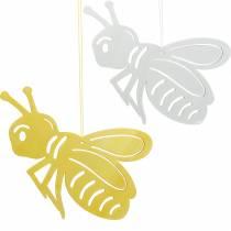 Houten bijtje, lentedecoratie, honingbij om op te hangen, decoratief insect 6st
