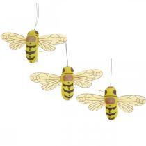 Decoratieve clip bij, lentedecoratie, bij om vast te klemmen, cadeau-decoratie 3st