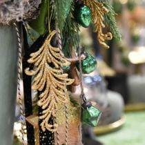 Boomhanger met glitter, decoratieve veren om op te hangen, kerstdecoratie Gouden L16cm 6st