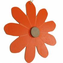 Bloem hangers, decoratieve bloemen oranje en wit, houten decoratie, zomer, decoratieve bloemen 8st