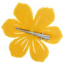 Vilt bloem op de clip 7cm 24st