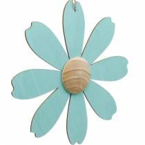 Houten bloemen om op te hangen, lentedecoratie, houten bloem roze en blauw, zomer, decoratieve bloemen 4st
