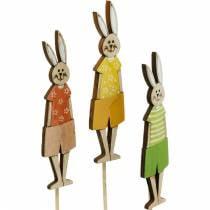 Bloemsteker paashaas op stokje Houten konijntjesdecoratieplug paasdecoratie 9st