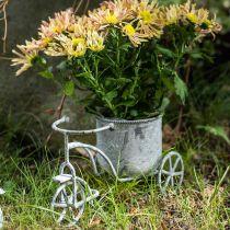 Bloempot fiets metaal vintage white wash 24×13×14cm