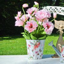 Bloempot metalen bloemen lentedecoratie plantenbak Ø15cm H15.5cm