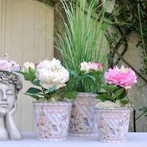 Bloempot metalen rozen zomerdecoratie plantenbak Ø13.5cm H11.5cm