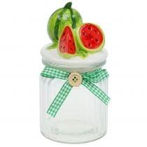 Bonbonniere gemaakt van glas met fruitdeksel meloen H15.5cm