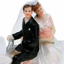 Bruidspaar figuur op motor 12cm