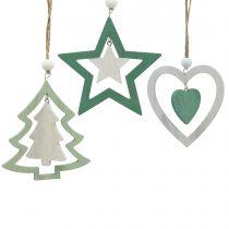 Kerstboomdecoraties mix groen, wit 10cm 9st