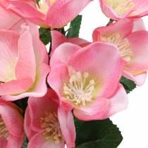 Boeket kerstrozen roze 29cm 4st