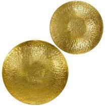 Gouden decoratieve schaal metaal Ø35 / 46cm, set van 2
