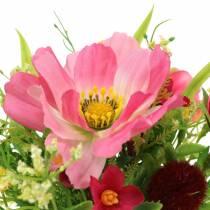 Decoratief boeket Cosmea en sneeuwbal in een bos Kunstmatig gesorteerd roze H18cm