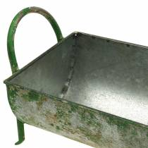 Decoratieve zinktrog voor planten met grepen grijs, groen 60 / 43cm set van 2