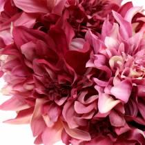 Dahlia bloemenkrans schemerig roze, kaasjeskruid Ø42cm