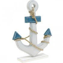 Deco anker hout tafeldecoratie maritiem blauw, wit H24cm