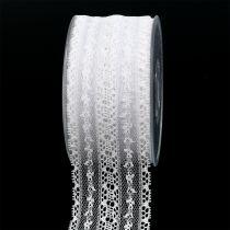 Decoratief tape kant 55mm 20m wit