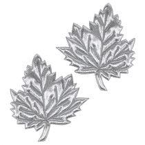 Decoratief blad gemaakt van zijde 5 cm zilver 60 st