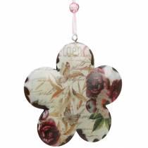 Decoratieve bloem voor het ophangen van pioenrozen nostalgische metalen lentedecoratie 4st