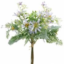Decoratief boeket, paarse zijden bloemen, lentedecoraties, kunstmatige asters, anjers en eucalyptus