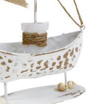 Decoratieve boot staand wit H22cm