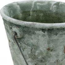 Decoratieve emmer, keramiek voor opplant, tuindecoratie, plantenemmer antieke optiek Ø13,5cm H12cm 2st