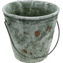 Sieremmer, bloemenbak, keramische emmer, antiek look, Ø19.5cm H19cm