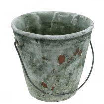 Plantenemmer, tuindecoratie, keramiek emmer, antieke optische plantenbak Ø16cm H13,5cm