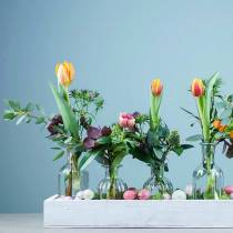 Decoratieve fles bloemenvaas Ø7,5cm H13,5cm helder 6st