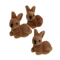 Decoratieve konijntjes 5cm bruin geflockt 16st.