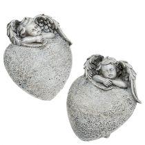 Decoratief hart met engel grijs 10,5cm 2st